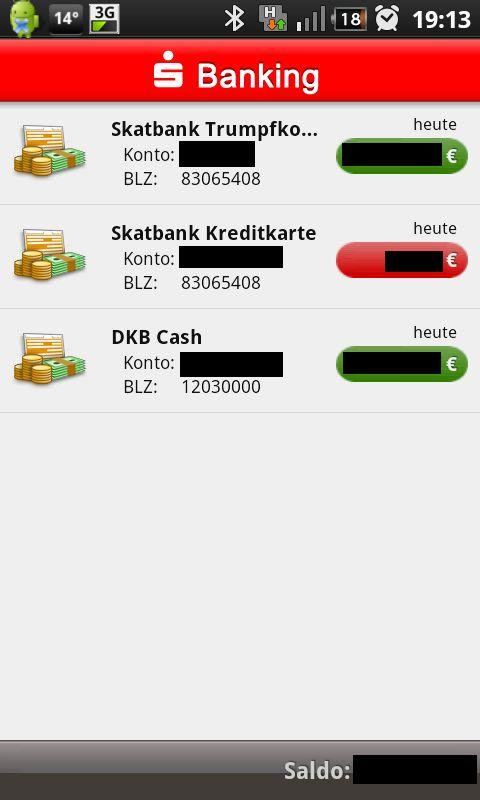 Kreditkartenabfrage per S Banking App s banking skatbank kreditkarte   samsung galaxy s i9000 android